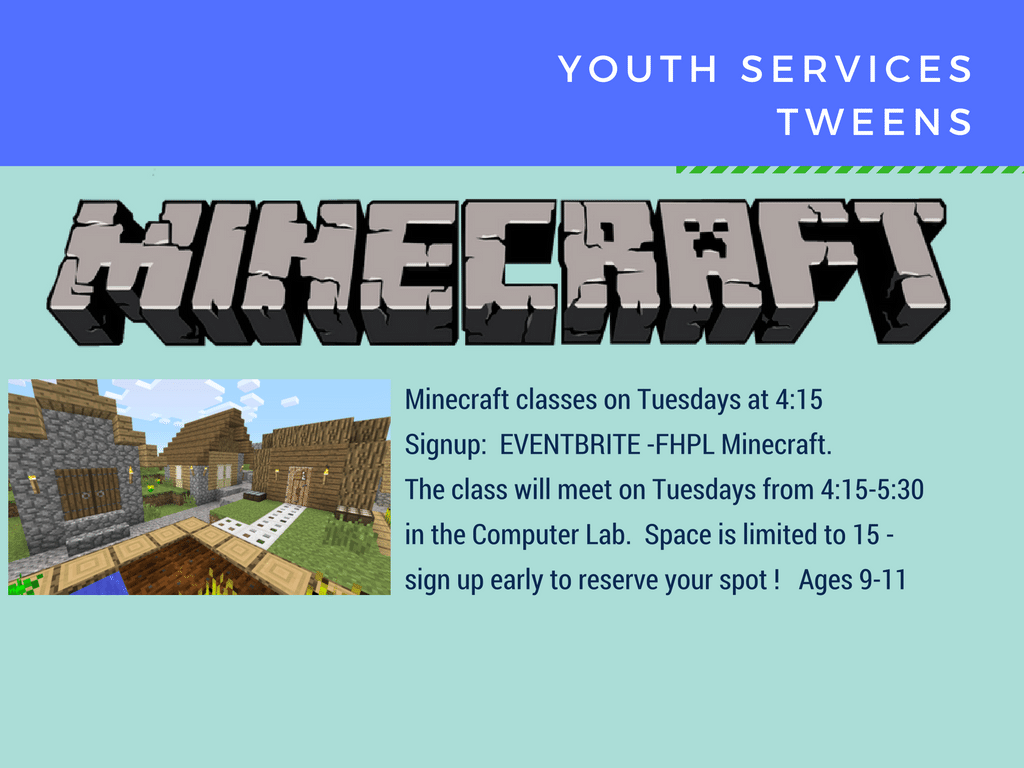 All events for Tween Minecraft Tuesdays – Ages 9 to 12 – Computer